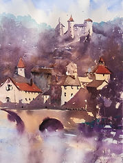 "Original Watercolour Painting. En plein air. Larocquebrou, South Central France. 11"" x 15"""
