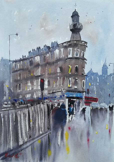 """Original Watercolour Painting For Sale. Special Edition inspired by the Monopoly board game. 'Pentonville Road' London Cityscape. 11"""" x 15"""""""