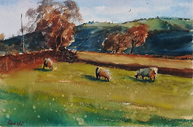 """Original Watercolour Painting Miniature by Robert Mee. Welsh country farm. 7.5"""" x 11"""""""