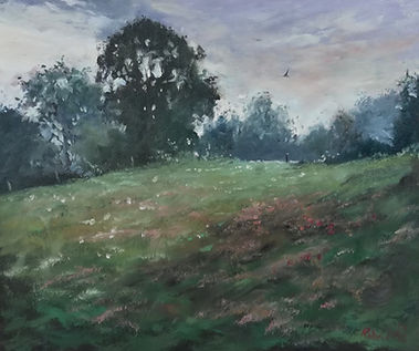 "Original Oil Painting. Early morning in the French countryside. Meadow. Oil on panel. 10"" x 12"""