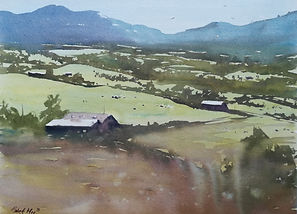 "Original Watercolour Painting For Sale. North Wales Farm, Snowdonia National Park. Mountains Landscape. 11"" x 15"""