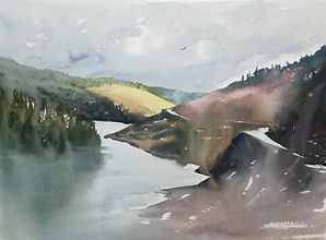 "Original Watercolour Painting by Robert Mee. Llyn Brianne, Tregaron, West Wales, UK. 11"" x 15"""