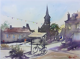 "Original Watercolour Painting. Chassignolles, Indre, Central France french rural village scene. 11"" x 15"""
