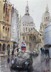 "Original Watercolour Painting. Taxis at St Paul's Cathedral, London, UK. 11"" x 15"""