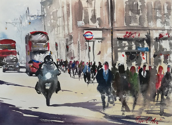 """Original Watercolour Painting by Robert Mee. Special Edition inspired by the Monopoly board game. 'Oxford Street' 11"""" x 15"""""""