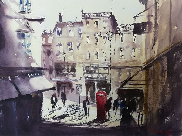 """Original Watercolour Painting by Robert Mee. Special Edition inspired by the Monopoly game. 'Mayfair'. 11"""" x 15"""""""