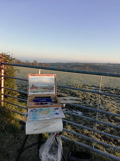 Oil Painting plein air sketch. Ffosyffin, Ceredigion, West Wales, UK. Countryside landscape