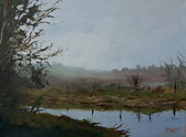 """Original Oil Painting. Riverbank in the mist. 12"""" x 16"""""""