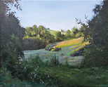 """Original Oil Painting.Landscape countryside. Early morning in Central France. 20"""" x 16"""""""