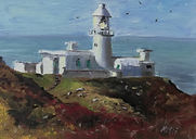 "Original Oil Painting. Strumble Head Lighthouse, Pembrokeshire coast seascape cliffs. Oil on canvas panel. Miniature 5"" x 7"""