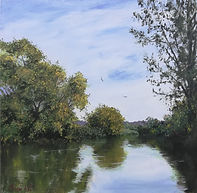 "Original Oil Painting Miniature by Robert Mee. Eckington Wharf, Pershore, UK. 10"" x 10"" oil on panel"