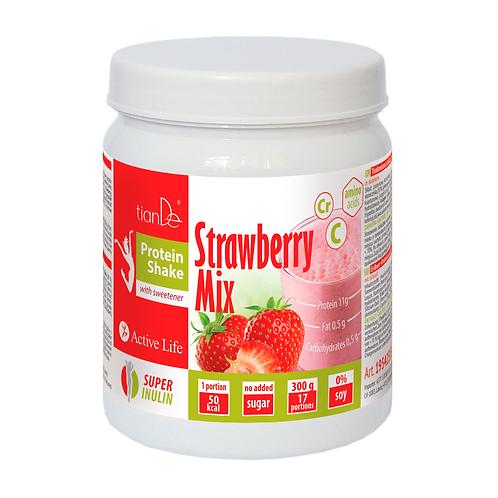 Truskawkowy koktajl-mix proteinowy ze słodzikiem 300g