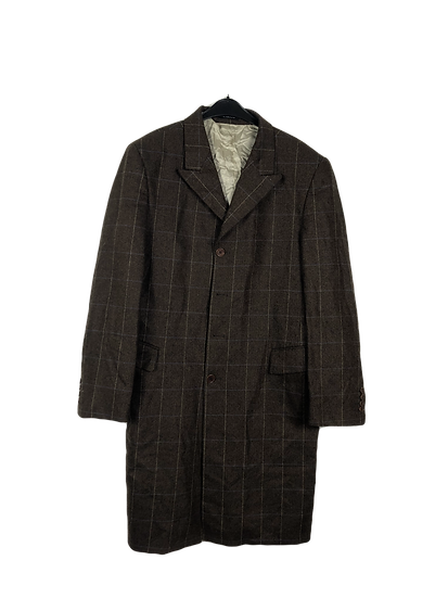 Brauner Herrenmantel mit Grätenmuster, Vintage