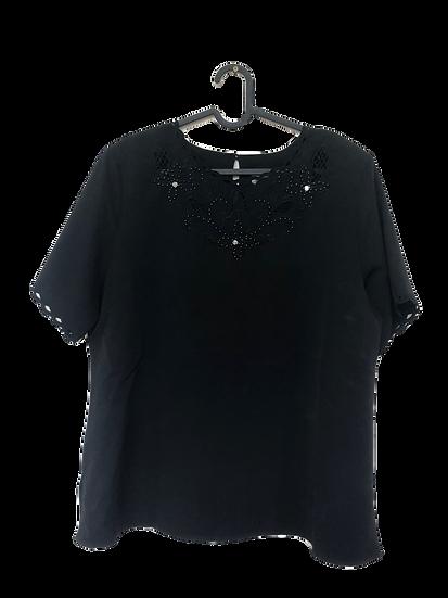 Schwarze Bluse mit Muster und Glasperlen