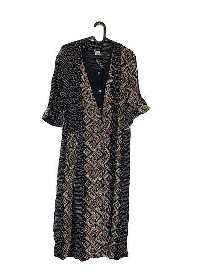 Kleid  marine/creme/braun