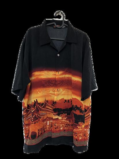 Tropenhemd mit Pagodenmuster schwarz/orange