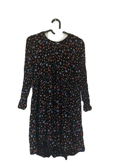 Schwarzes Kleid mit bunten Blumen