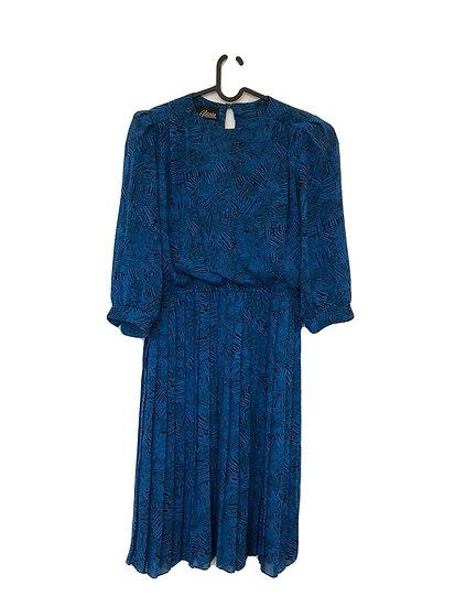 Blau/schwarzes Kleid mit Plissèe