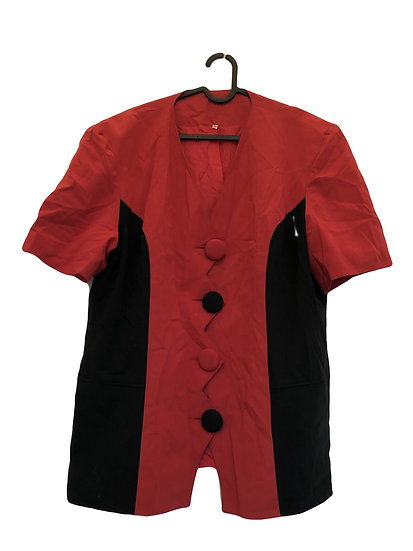 Rote Vintage Jacke mit schwarzem Kontrast