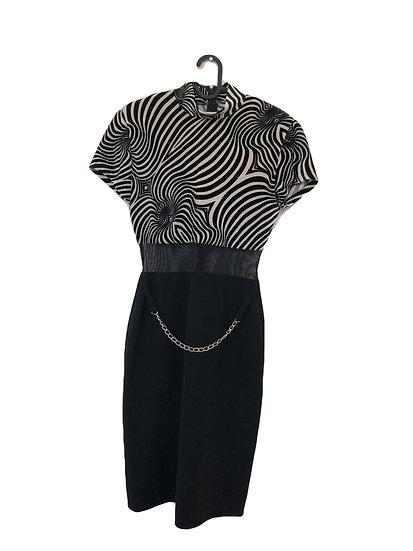 Zebra/schwarzes Kleid mit Velour Oberteil