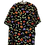 Thumbnail: Schwarze Bluse mit bunten Blumen und Goldknöpfen