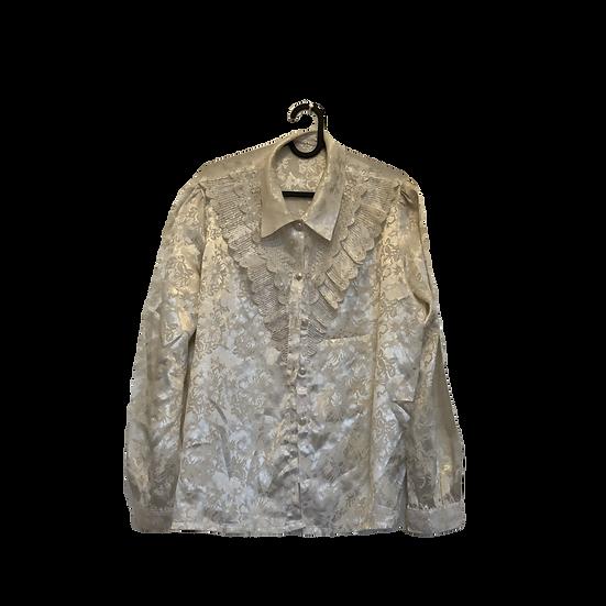 Weisse, schattierende Bluse mit Spitzen