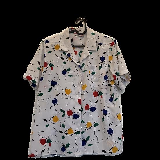 Weisse Bluse mit Bunten Blumen