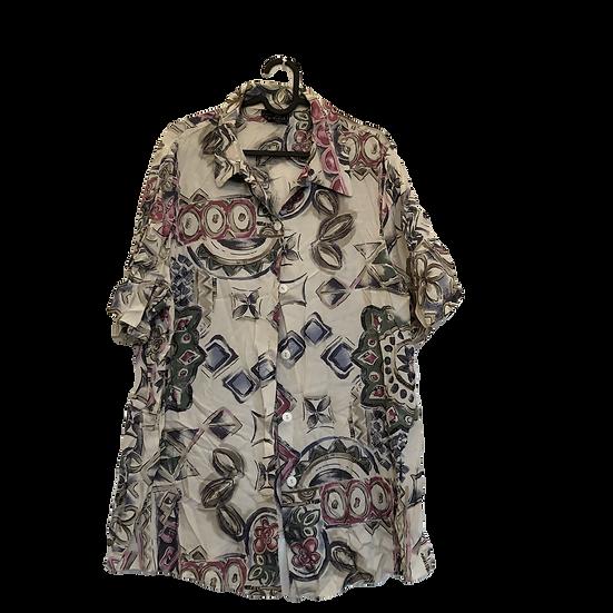 Vintage Bluse mit beige/rosa/schwarz