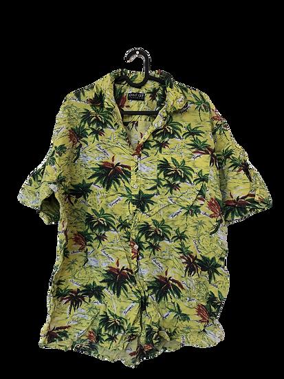 Gelbes Vintage Hemd mitTropenmotiv