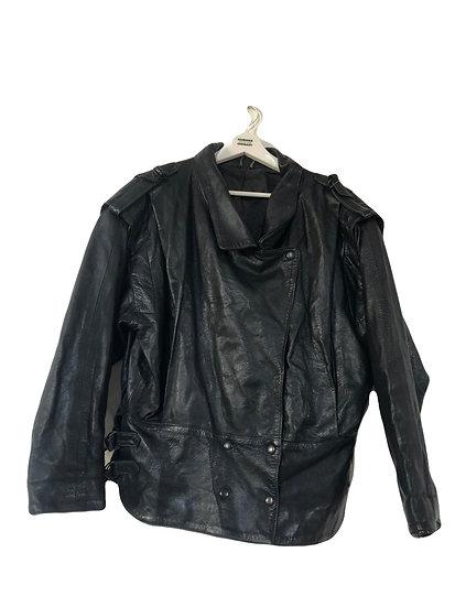 Schwarze Vintage Lederjacke