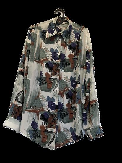 Vintage Bluse braun/schwarz/grün/rost/lila
