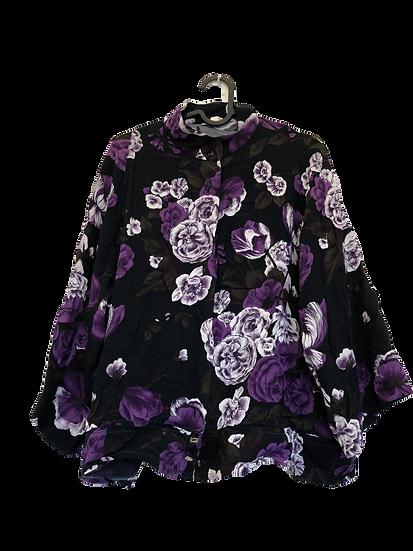 Blusenjacke lila/schwarz/weiss