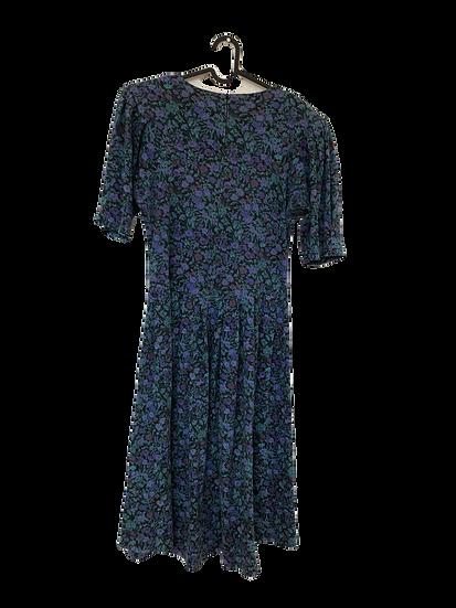 Kleid mit kleinen Blumen grün/blau/lila/schwarz