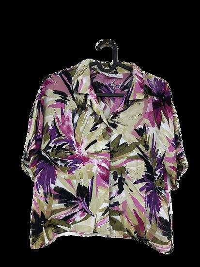 Bluse mit Blumenmuster grün/rosa/lila/schwarz