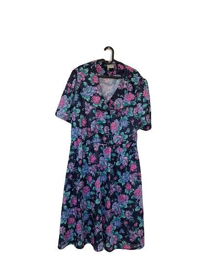 Vintage Granny Kleid dunkelblau mit lila/rosa/grünen Blumen