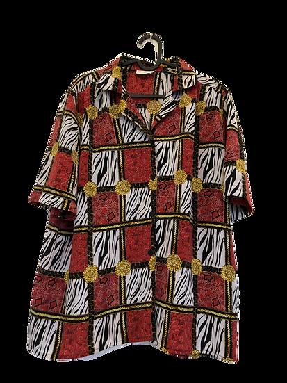 Bluse mit Barok/Zebra Muster. Schwarz/gelb/gold/rot