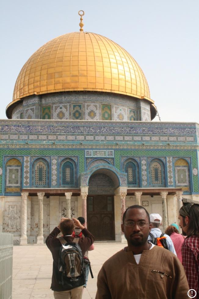 Rev. Heber Brown, III standing at Al-Aqsa Mosque in Jerusalem