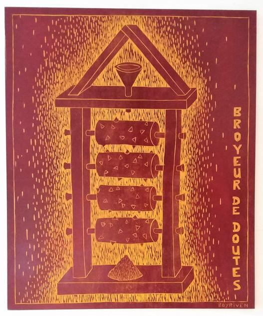 Broyeur de doutes- Bois gravé- 100x120 c