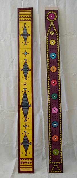 Totems jaune & violet 160x15cm chaque