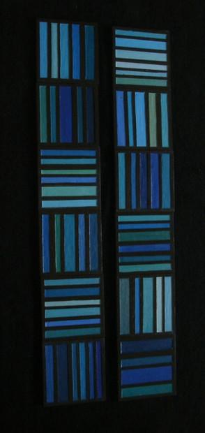 carreaux rayés bleus
