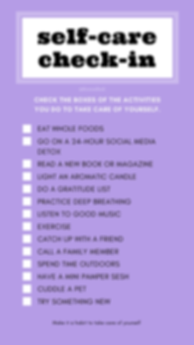 Blue Self-Care Checklist Advocacy Intera