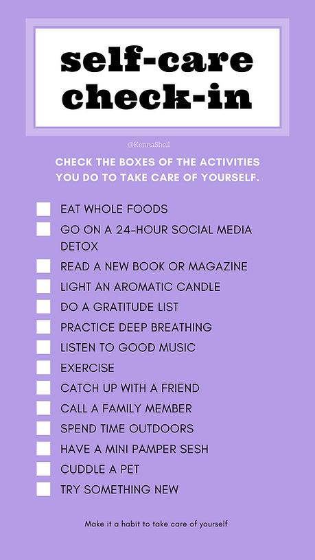 Blue Self-Care Checklist Advocacy Intera