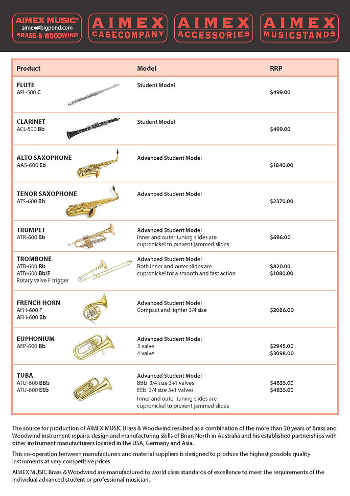 AIMEX MUSIC Brass&Woodwind_RRP Price Lis