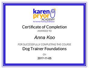 Karen Pryor Dog Trainer Foundations_Cert