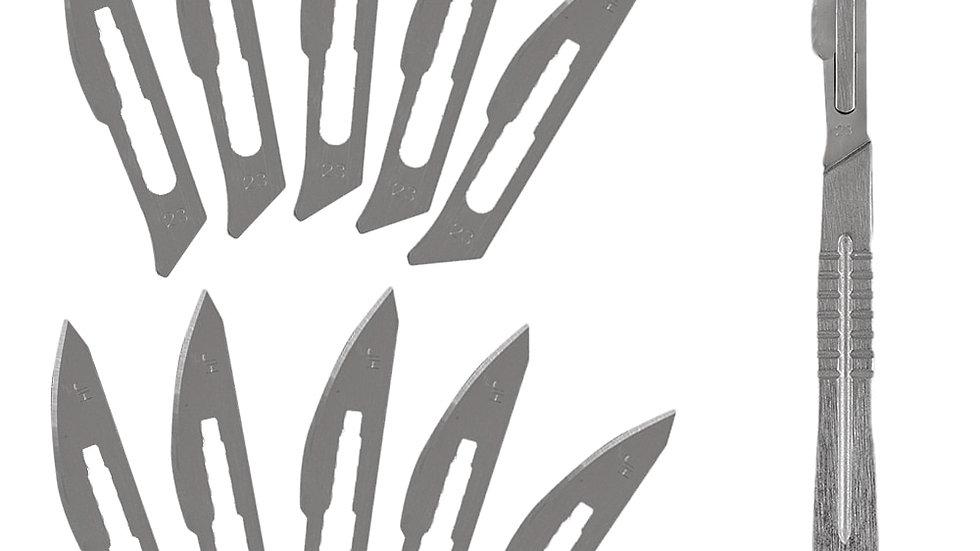 10 Pc 20#--23# Carbon Steel Surgical Scalpel Blades + 1pc 4# Handle Scalpel DIY