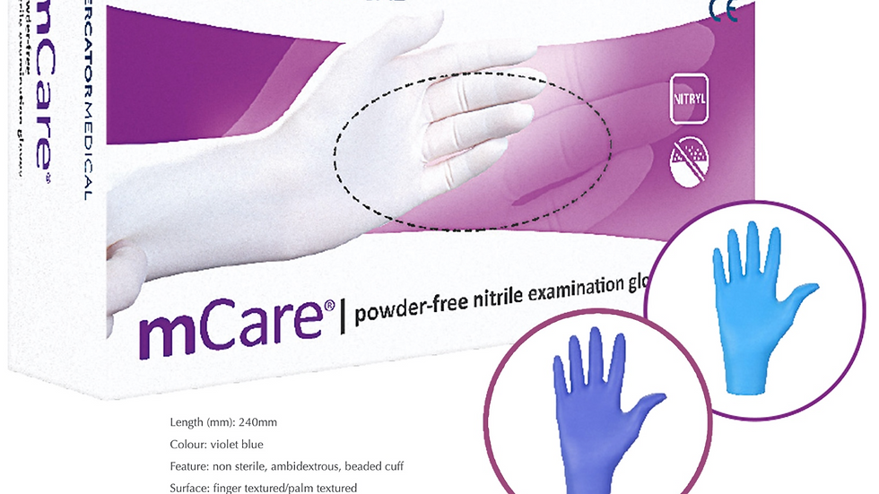mCare l Powder-Free Nitrile Examination Gloves by Medical Mercator
