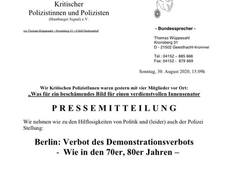 Bundesarbeitsgemeinschaft kritischer Polizistinnen und Polizisten zu #b290820