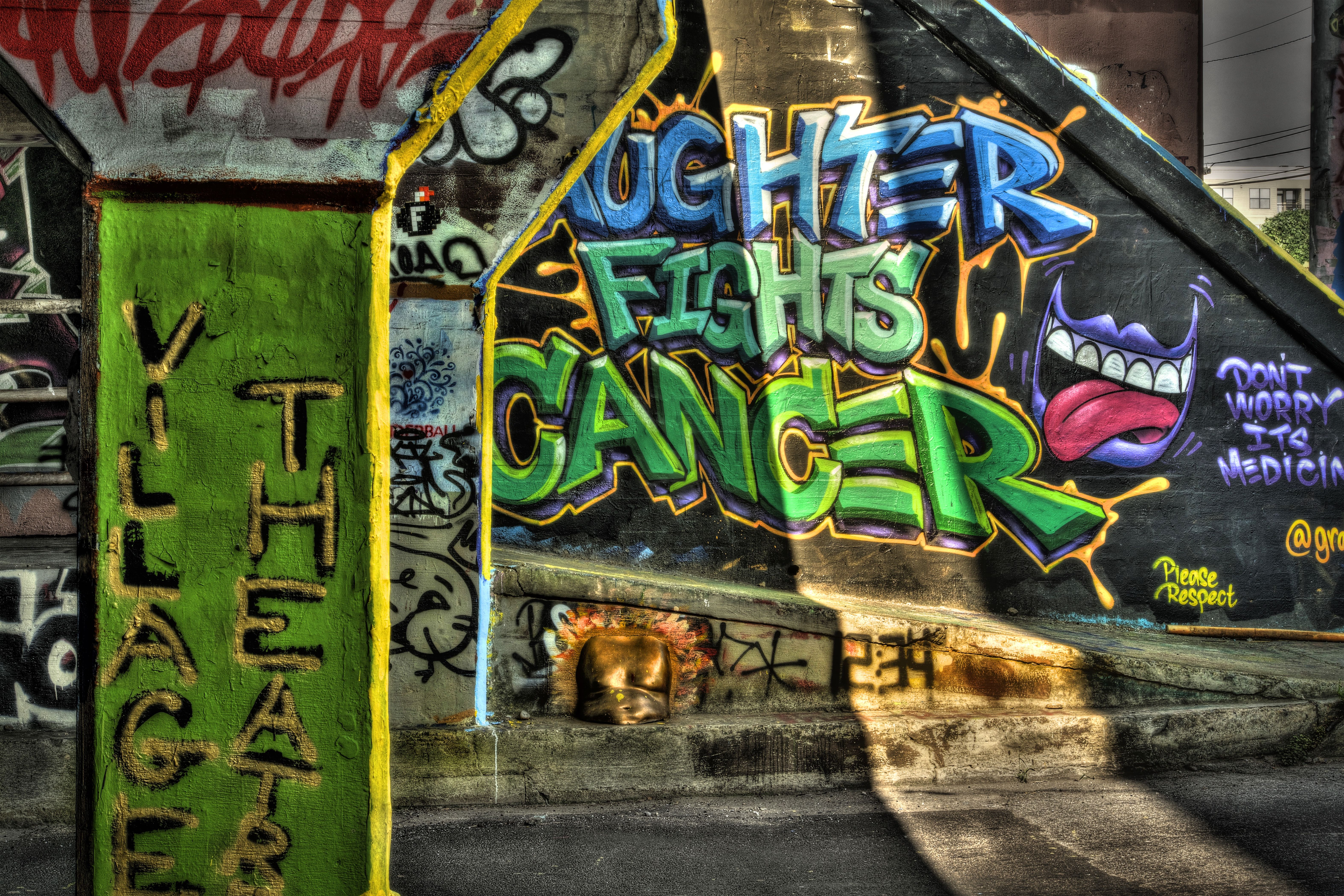 'Laughter Fights Cancer' Graffiti
