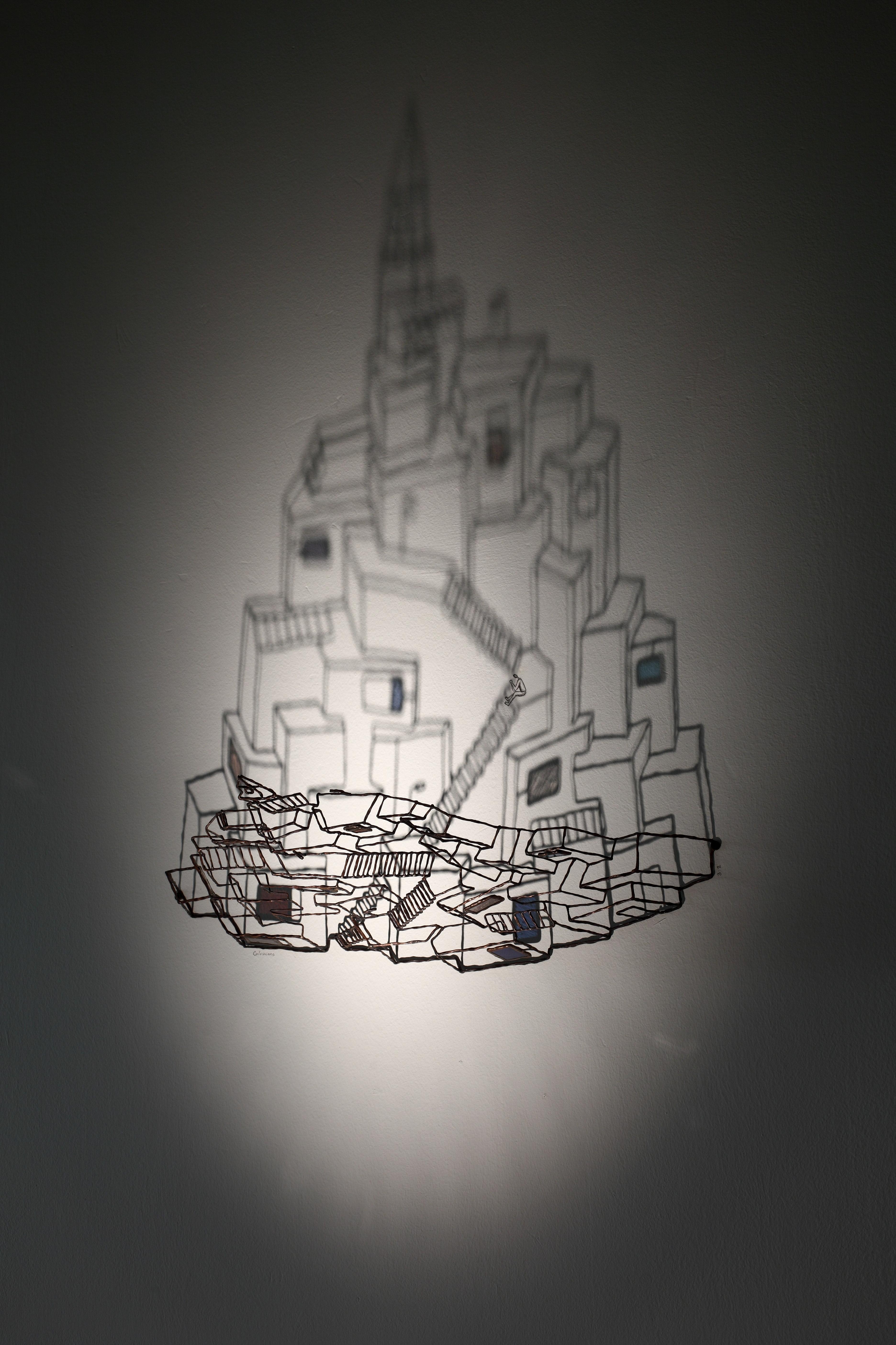 12. 호흡(breathing), 동선, 스테인드글라스, 그림자, 35×61×12cm, 2012
