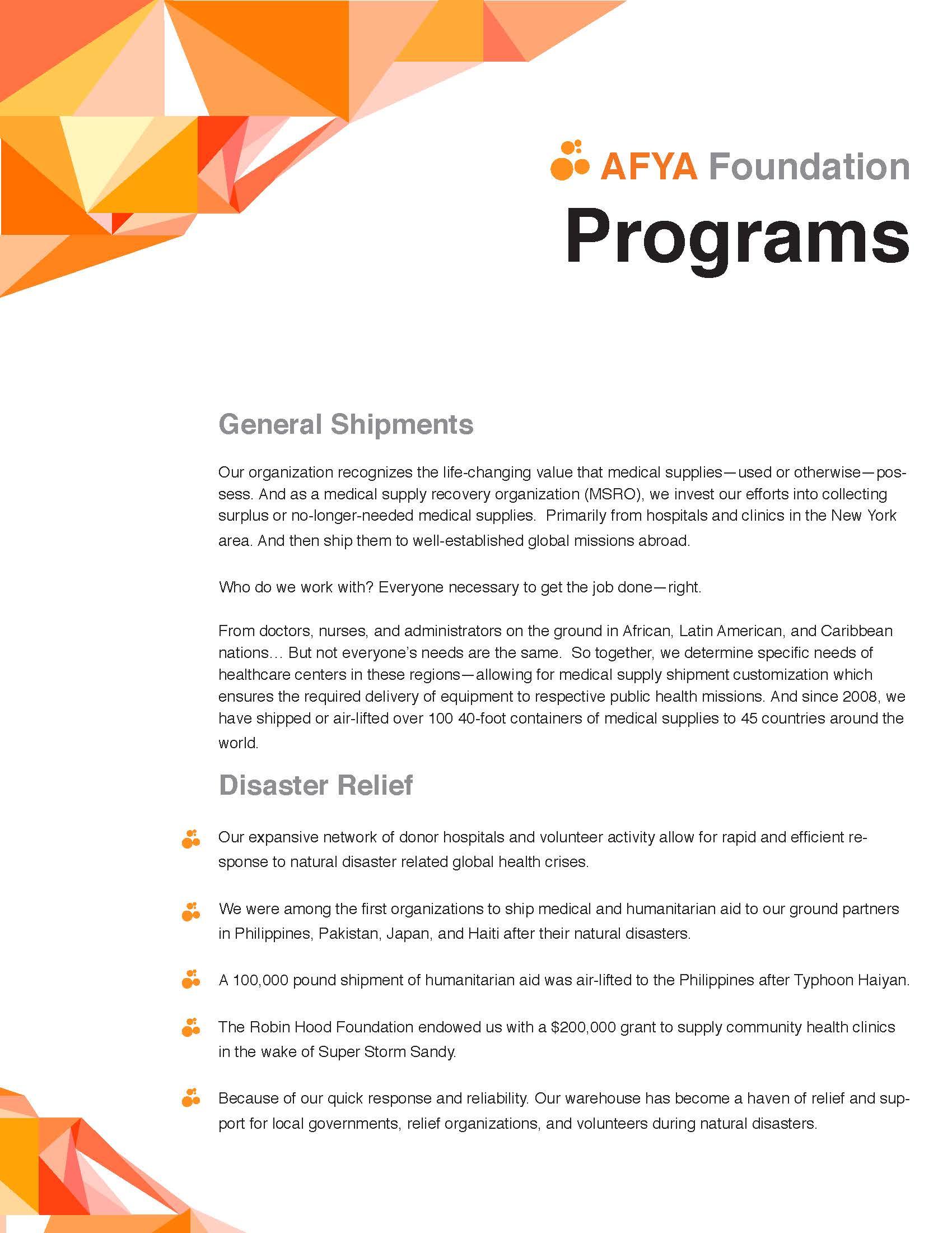 AFYA Programs